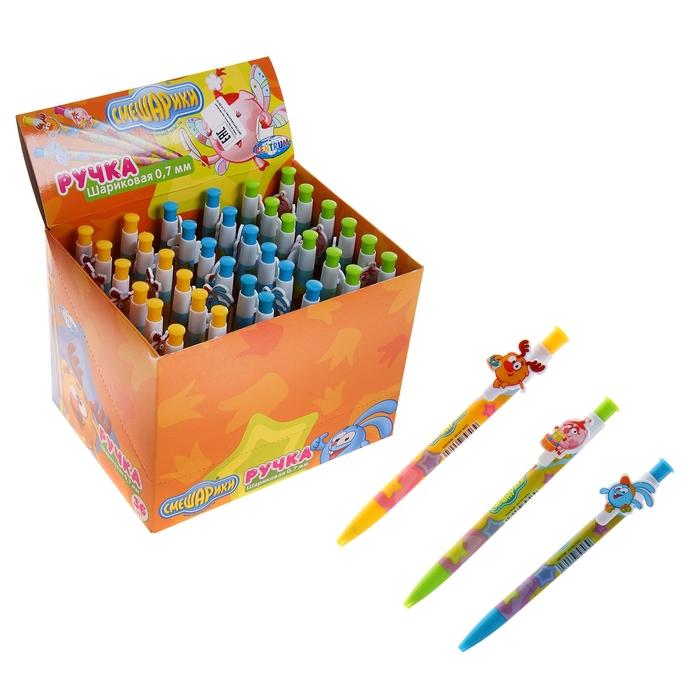 "Ручка шариковая автомат дизайн ""Смешарики"" 1.0 мм, синяя, микс"