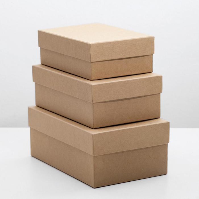 "Набор коробок 3в1 ""Крафт однотонный"", 19 х 12 х 7,5 - 15 х 10 х 5 см"