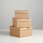 "Набор коробок 3в1 ""Крафт однотонный"", 19 х 19 х 9,5 - 15,5 х 15,5 х 6,5 см"