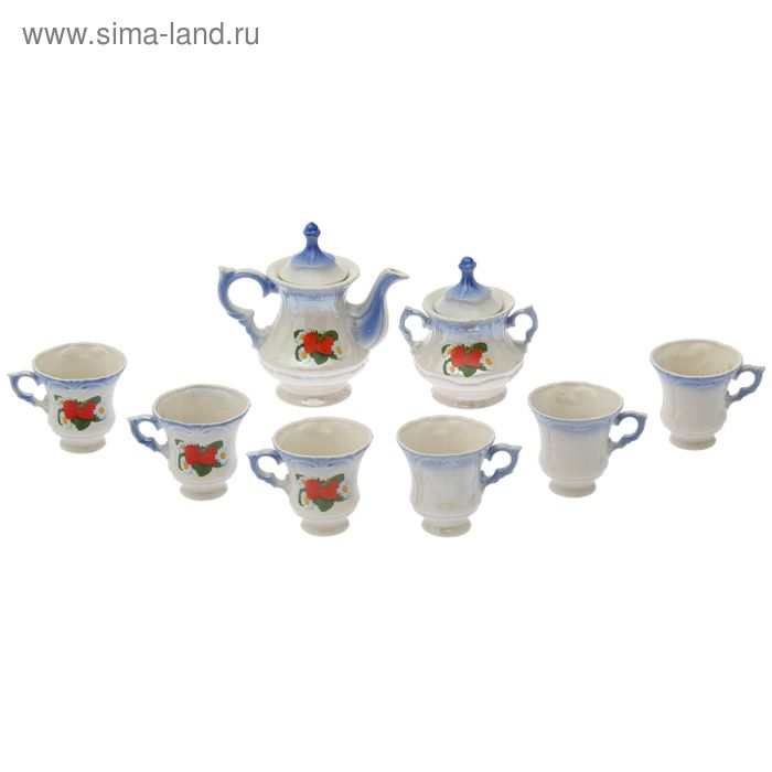 """Чайный сервиз """"Блиц"""" голубой, клубника, 8 предметов: чайник 0,6 л, сахарница, 6 кружек 0,25 л"""