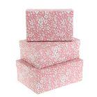 "Set boxes 3 in 1 ""Pink bindweed"", 23 x 16 x 9.5 - 19 x 12 x 6.5 cm"