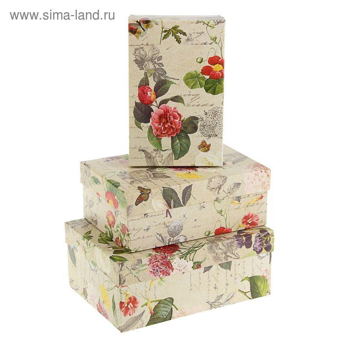 "Набор коробок 3в1 ""Цветы ретро"", 23 х 16 х 9,5 - 19 х 12 х 6,5 см"