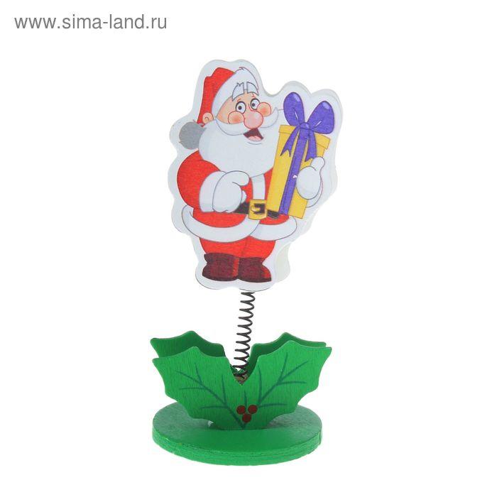 "Визитница - прищепка ""Дедушка Мороз с подарком"""