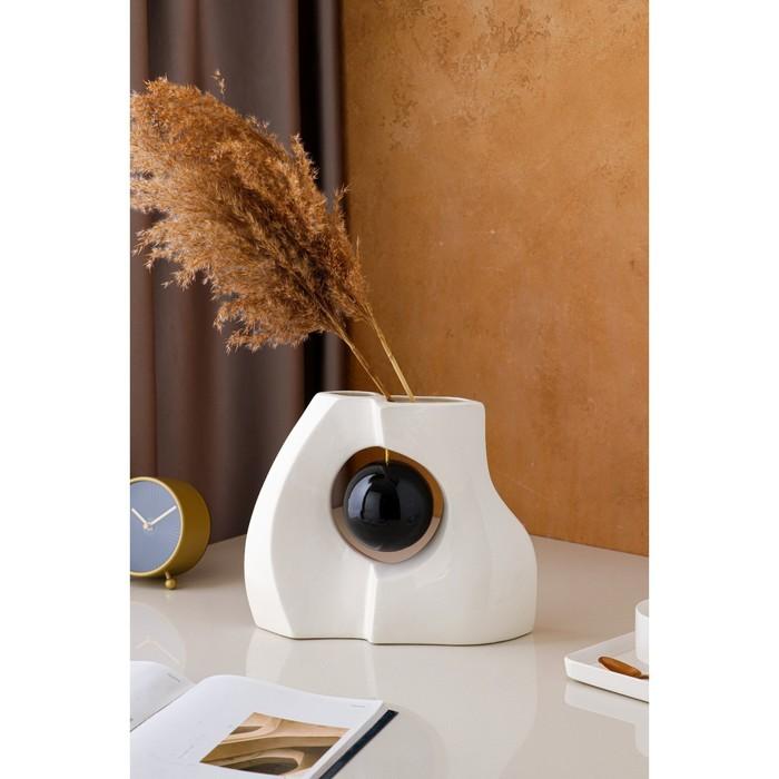 """Ваза настольная """"Принцип"""", глазурь, чёрный шар, 24 см, керамика - фото 892758"""