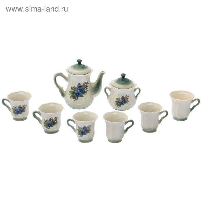 "Чайный сервиз ""Ажур"" изумруд, незабудка, 8 предметов: чайник 1 л, сахарница, 6 кружек 0,25 л"
