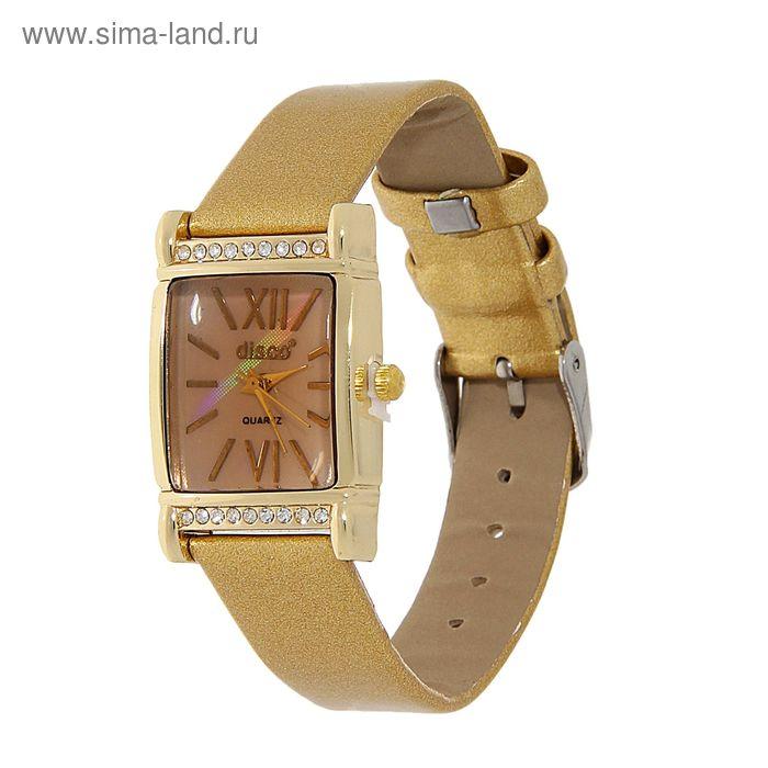 Часы наручные женские, квадратный корпус, римские цифры, стразы, ремешок глянец, золотой