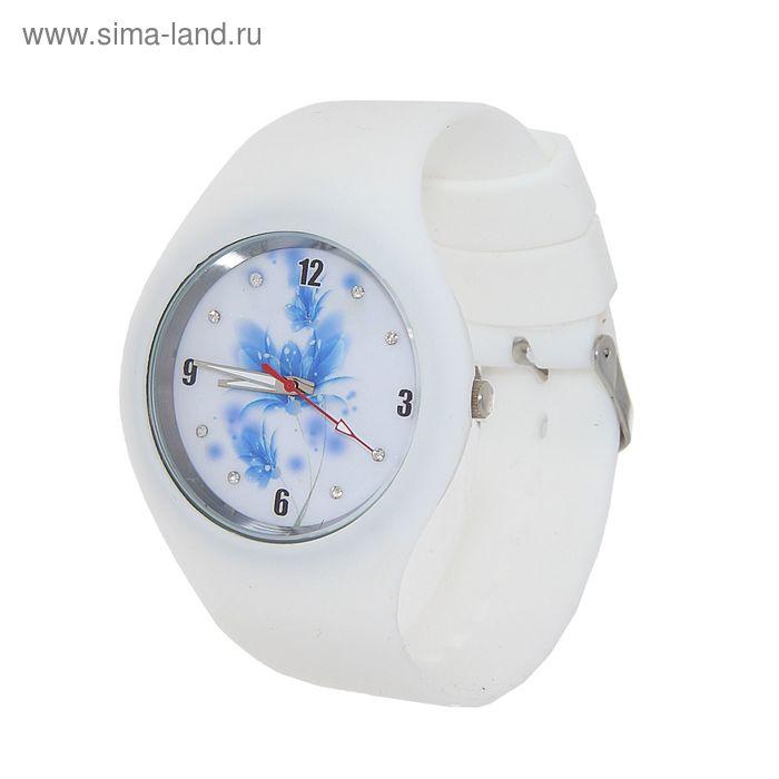 Часы наручные женские, корпус и ремешок силикон, цветной циферблат микс, белые