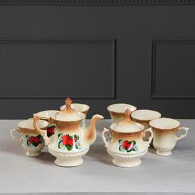"""Чайный сервиз """"Блиц"""" коричневый, клубника, 8 предметов: чайник 0,6 л, сахарница, 6 кружек 0,25 л"""