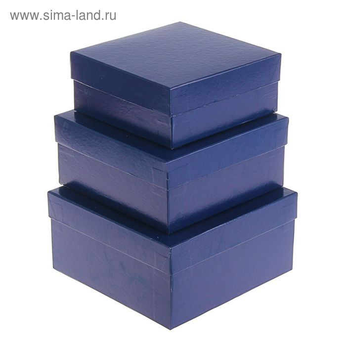 """Набор коробок 3 в 1 """"Синий однотонный"""""""