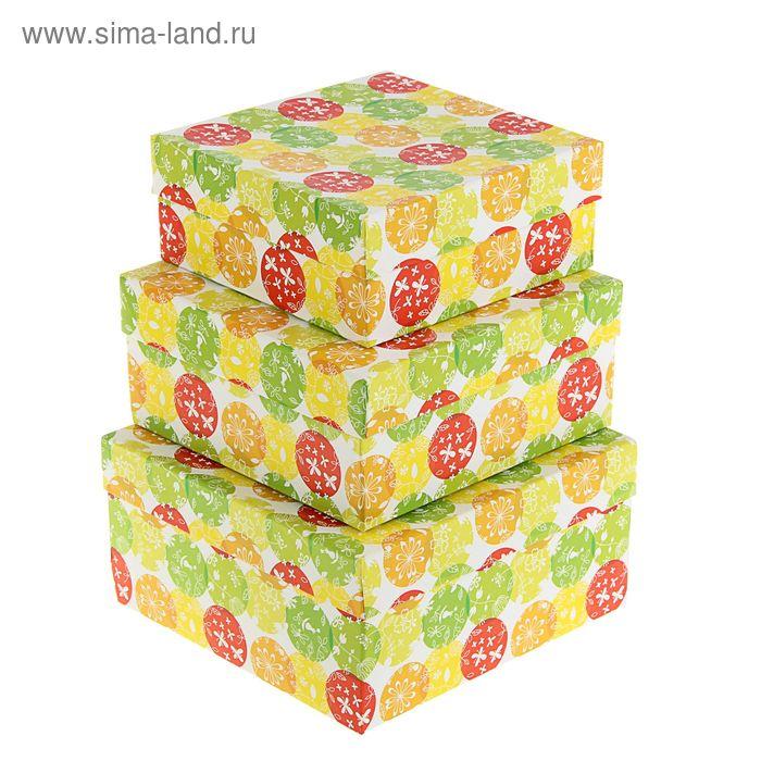 """Набор коробок 3в1 """"Шары и бабочки"""", 19 х 19 х 9,5 - 15,5 х 15,5 х 6,5 см"""