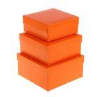 """Набор коробок 3в1 """"Оранжевый однотонный"""", 19 х 19 х 9,5 - 15,5 х 15,5 х 6,5 см"""