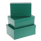 """Набор коробок 3в1 """"Зелёный однотонный"""", 23 х 16 х 9,5 - 19 х 12 х 6,5 см"""