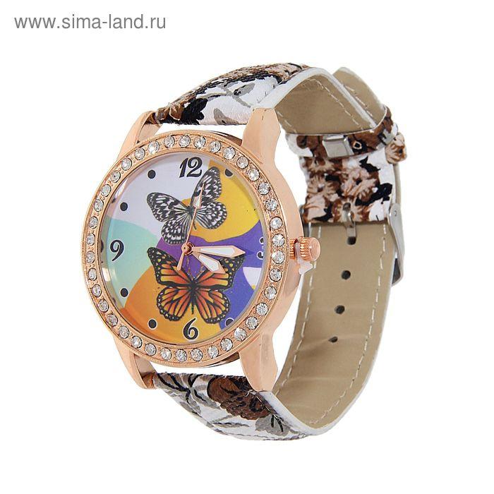 """Часы наручные женские, """"Бабочка"""", ремешок цветы серые"""