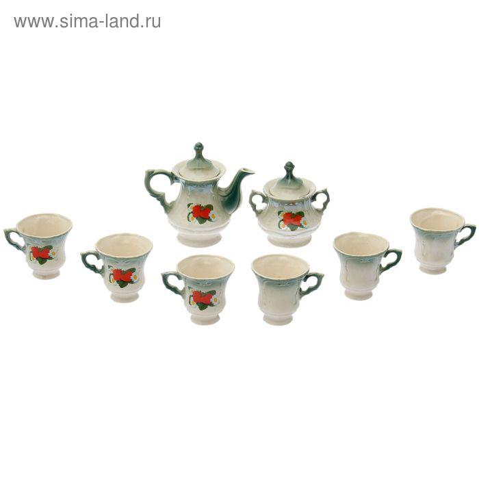 """Чайный сервиз """"Блиц"""" изумруд, клубника, 8 предметов: чайник 0,6 л, сахарница, 6 кружек 0,25 л"""