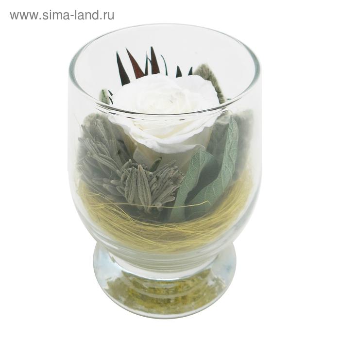 Композиция в вазе, роза белая, 9 х 9 х 10,5 см