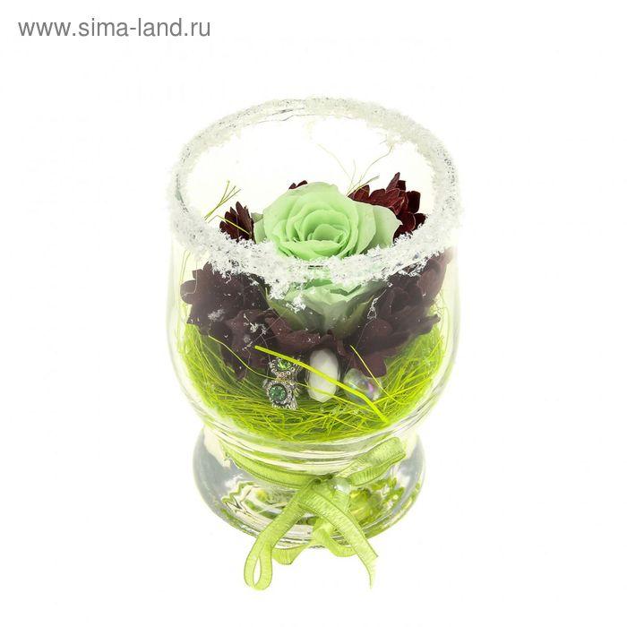"""Композиция в вазе """"Акватик"""" новогодняя, роза фисташковая, 7 х 10,5 х 7,8 см, 310 мл"""