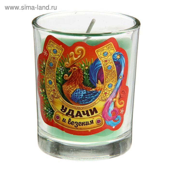 """Свеча в стеклянном стаканчике """"Удачи и везения"""""""