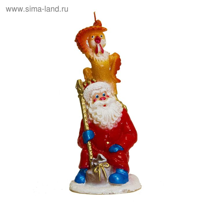 Свеча Символ года «Дед мороз с петухом» 330г 22см