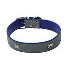 Ошейник широкий со светоотражающей полосой и косточками, 66 х 3,5 см, синий - фото 1649941