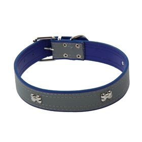 Wide collar with reflective strip and bones, 66 x 3.5 cm, blue
