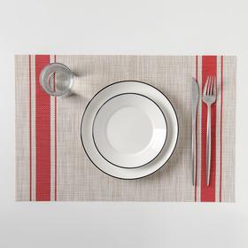 Салфетка кухонная «Две полосы», 45×30 см, цвет красный