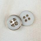 Пуговица декоративная, 4 прокола, d = 10 мм, цвет белый/золотой
