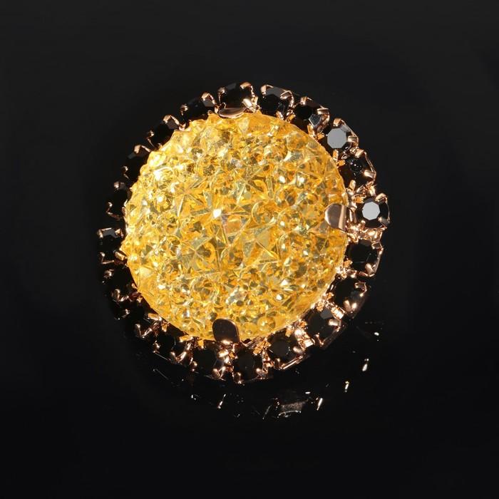 Декоратив. пуговица круг черепаха, d=3см, цвет золотой с черными стразами и перламутр.