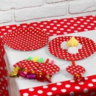A set of holiday polka dot, tablecloth 180*108 cm, 6 plates, 6 reeds, color: red
