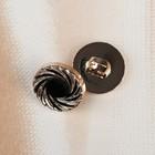 Пуговица декоративная «Водоворот», d=12 мм, на ножке, цвет чёрный/золотой