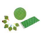 """Набор для праздника """"Горох"""", скатерть 180*108 см, 6 тарелок, 6 язычков, цвет зелёный"""