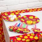 """Набор для праздника """"Смайлики"""", скатерть 180*108 см, 6 тарелок, 6 язычков"""