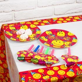 Набор для праздника «Смайлики», скатерть 180х108 см, 6 тарелок, 6 язычков