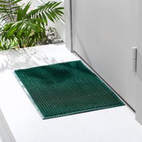 Покрытие ковровое щетинистое «Травка», 39×59 см, цвет тёмно-зелёный - фото 4657001