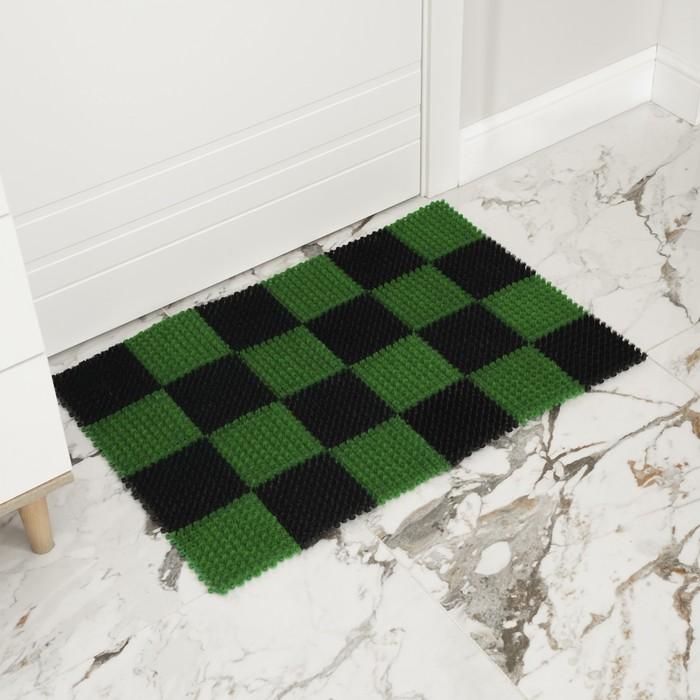 Покрытие ковровое щетинистое «Травка», 54×81 см, цвет чёрно-зелёный