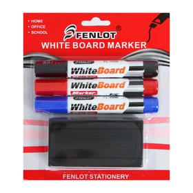 A set of markers for the board, 3 colors, 3 mm, with a sponge, on a blister