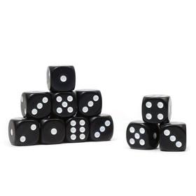 Кости игральные 1.6х1.6 см, черные, фасовка 100 шт Ош