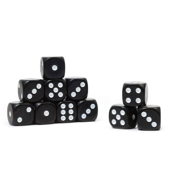 Кости игральные 1.6х1.6 см, черные, фасовка 100 шт