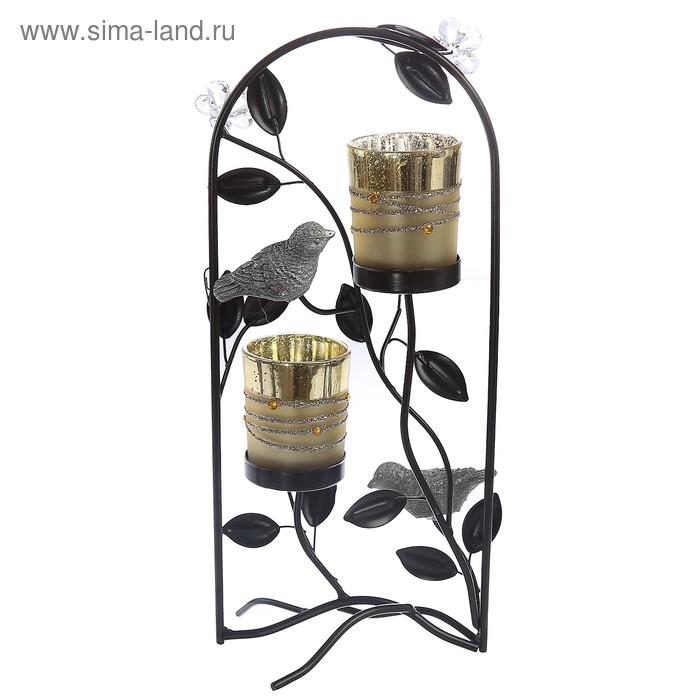 """Подсвечник """"Птицы в цветочной арке"""" 2 свечи"""