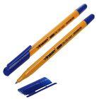 Ручка шариковая 0.5 мм, Vinson, корпус треугольный жёлтый с синим колпачком, стержень масляный синий