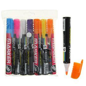 Набор меловых маркеров для стекла, 7 цветов, LED