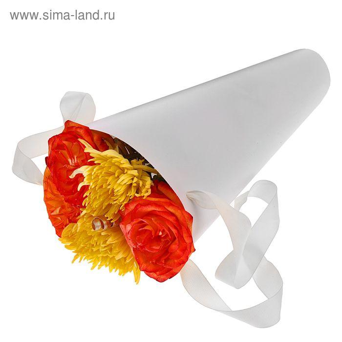 Упаковка для букетов и композиций 36,5 х 15 х 15 см, цвет белый