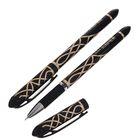 Ручка гелевая 0,5мм черная корпус Узор с резиновым держателем игольчатый пишущий узел К85