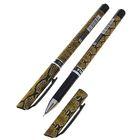 Ручка гелевая 0,5мм черная корпус Змея игольчатый пишущий узел