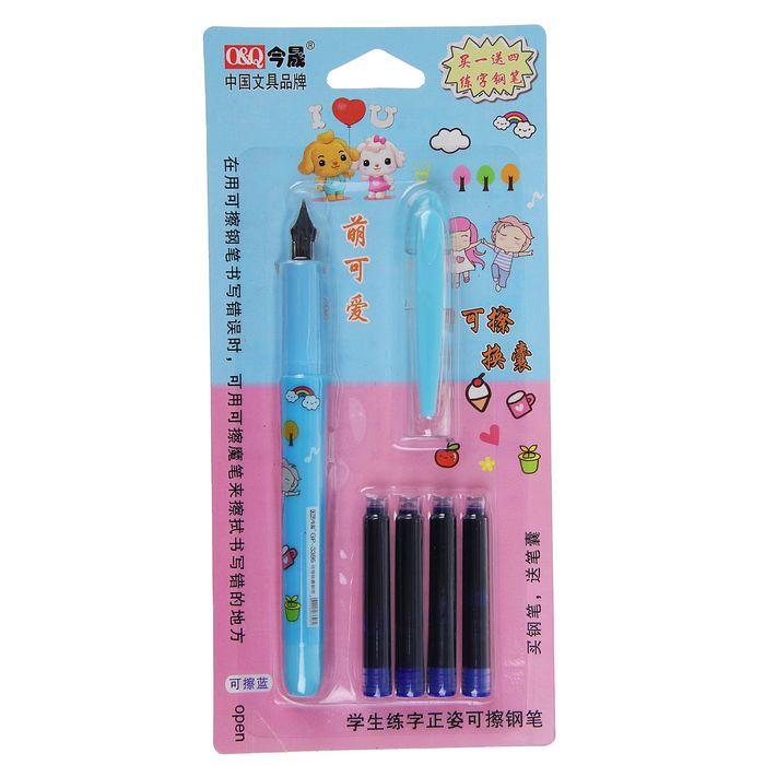 Ручка перьевая+4 картриджа в блистере микс
