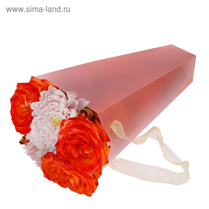 Упаковка для букетов и композиций 33 х 13 х 13 см, цвет розовый