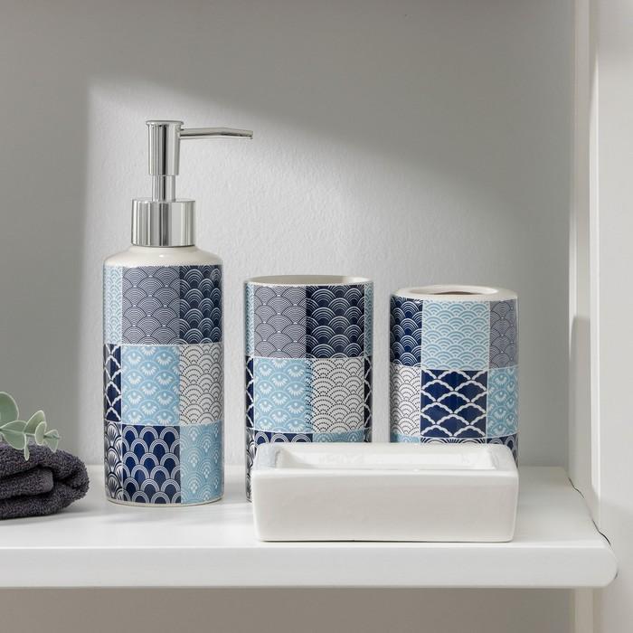 Набор аксессуаров для ванной комнаты, 4 предмета «Мозайка», цвет МИКС - фото 726415507