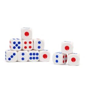 Кости игральные 1,5 × 1,5 см, белые с красными и синими точками, фасовка 100 шт. Ош