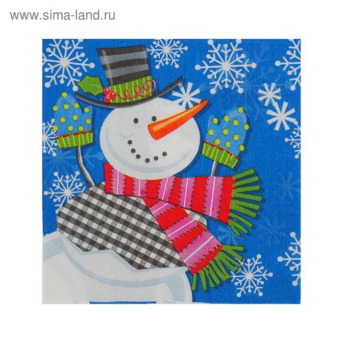 """Салфетки бумажные """"Веселый снеговик"""", 33 х 33 см, набор 20 шт."""