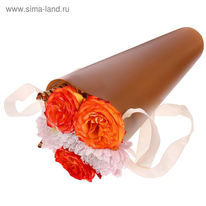 Упаковка для букетов и композиций 36,5 х 15 х 15 см, цвет коричневый