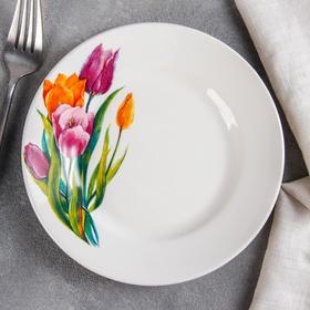 Тарелка мелкая «Тюльпаны», d=17,5 см